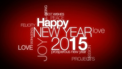 Happy New Year 2015 greeting words tag cloud animation