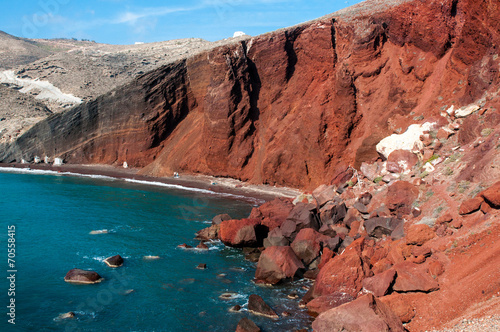 Leinwanddruck Bild Santorini, Red Beach