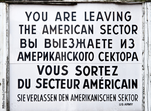 Deurstickers Berlijn Checkpoint Charlie historical sign, Berlin Germany