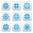 Christmas, winter blue snowflakes vector buttons set