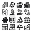 Finances flat icons. Black