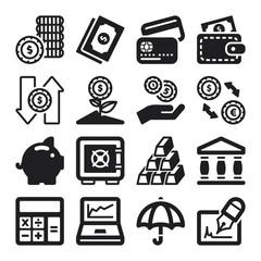 Finances flat icons. Black
