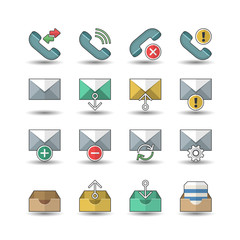 Flat color style Web & Mobile interface icons set