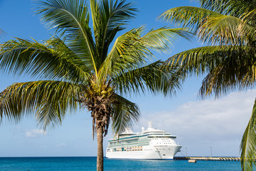Cruise Ship on Blue Beyond Palm Trees