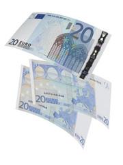 Twenty euro bills collage isolated on white