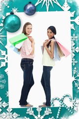 Composite image of smiling women carrying a lot of shopping bags