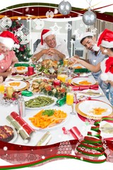 Family in santas hats enjoying christmas dinner