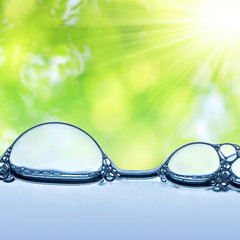 water bubbles close up on green natural background