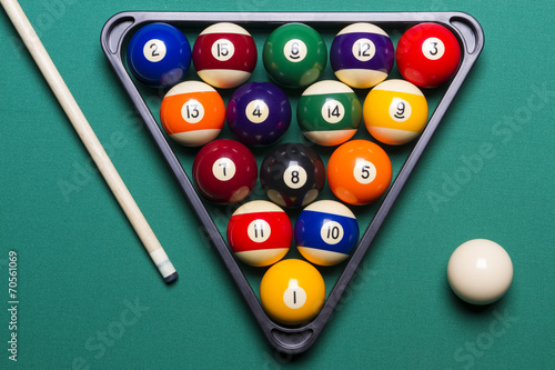 Staande foto Billiard balls arranged in a triangle viewed from above