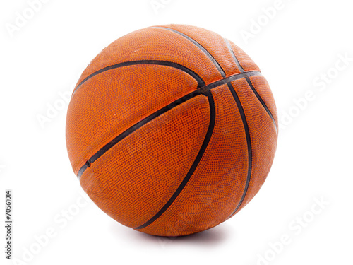 Poster, Tablou An official orange basketball isolated over white