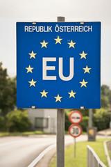 Close up of a EU (European Union) border post on a road