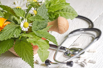 Fresh herb and stethoscope alternative medicine concept