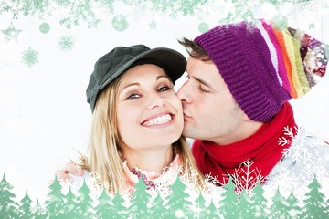 Beautiful woman receiving a kiss from her boyfriend