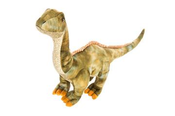 Süßer kleiner grüner Dinosaurier isoliert auf Weiß