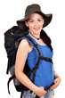 girl with backpack and hat ready for hiking