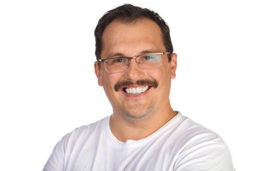Portrait of smiling middle-aged man with mustache