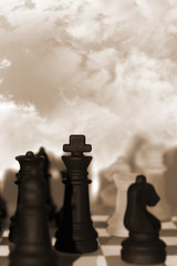 chess pieces isolated against sky