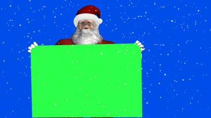 santa claus with green sign  with and without snowfall