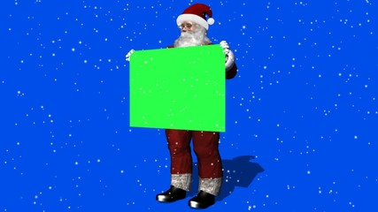 santa claus with green sign and snowfall - green  blue screen