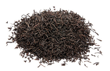 Dry black tea leaves isolated on a white