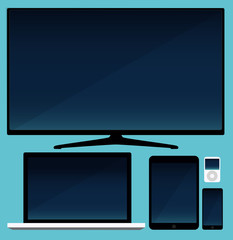 Lcd tv, smartphone and tablet and laptop