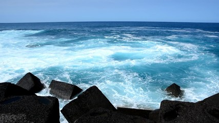 Stone beach in the Puerto de la Cruz, Tenerife.