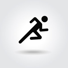 Running man icon white black silhouette