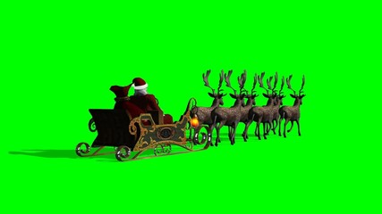 Santa Claus with sleigh and reindeer animated