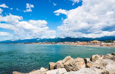 Viareggio panoramic view of beach,Versilia,Tuscany,Italy