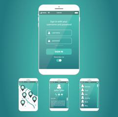 Smartphone or tablet vector, app website design
