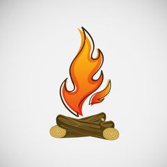 Fire, burning on the wood. Vector design