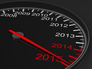 speedometer on black background. 3D image