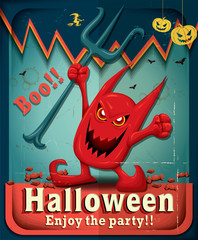 Vintage Halloween poster design with demon