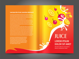 brochure folder juice fruit drops liquid orange red