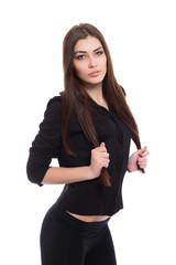 Portrait of playful brunette