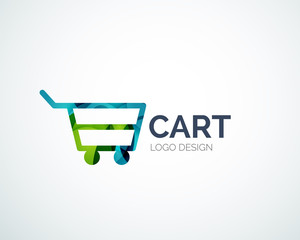 Shopping logo design made of color pieces