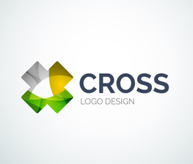 Cross logo design made of color pieces