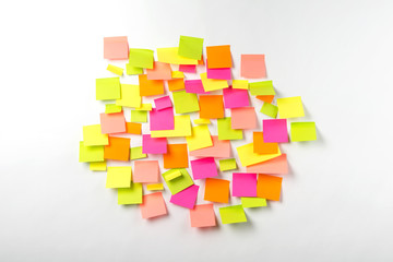 Many of colorful stickers on a white background