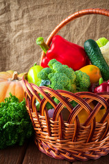 organic food background. Vegetables in the basket