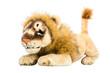Löwe isoliert: freigestelltes Stofftier auf Weiß