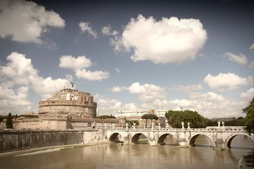 Rome, Italy - Saint Angel Castle. Cross processed color tone.