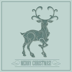 Christmas card with a deer. Vector Illustration