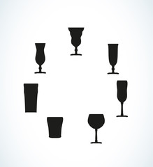 silhouettes of glasses for water or alcohol