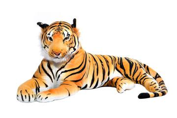 Tiger aus Plüsch bzw. Stoff freigestellt auf Weiß