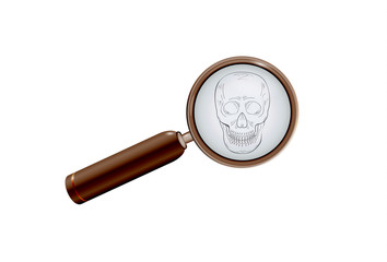 skull and magnifying glass