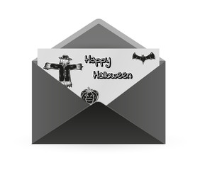 scarecrow, bat and pumpkin and envelope