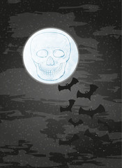 night with moon, skull and bats