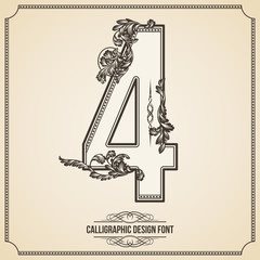 Calligraphic Font. Number 4. Vector Design Background