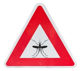 moustique sur panneau triangulaire rouge