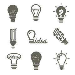 bulb idea icons set, vector illustration